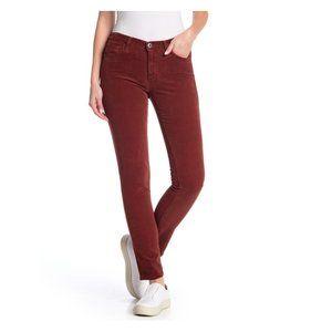 AG Prima Corduroy Skinny Pants In Rich Crimson. 30